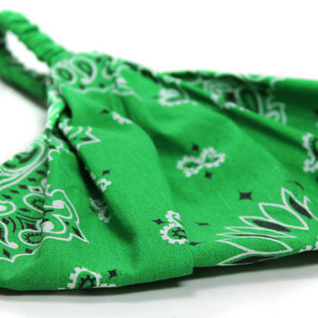 Headscarf Kelly Green Extra Wide Headscarves Head Scarf Head Wrap Bandana (Item 2007) BA