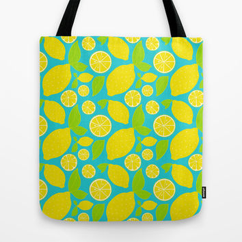 Fresh Lemons Tote Bag by Ariel Lark | Society6