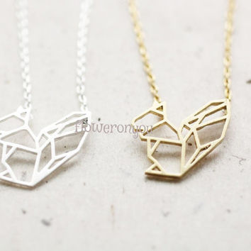 Origami squirrel necklace, paper squirrel necklace, animal necklace, animal jewelry