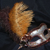 Bronze and Silver Masquerade Feather Mask