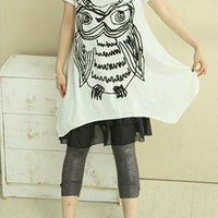 Abstract Owl Print 2 Pieces Oversize T-shirt  OBPT436 from topsales