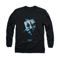 Batman Dark Knight Joker Holding Card Mens Long Sleeve T-Shirt