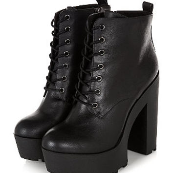 Black Chunky Platform Lace Up Block Heel Boots