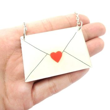 Simple Heart Love Letter Envelope Shaped Pendant Necklace in Acrylic