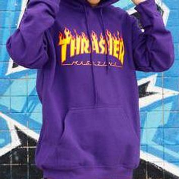 Thrasher Classic Fashionable Couple Casual Flame Letter Print Hip Hop Hoodie Sweater Pullover Top Sweatshirt Purple