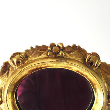 Small Gilded Mirror / Vintage Wall Hanging / Wall Decor / Regency Hollywood Regency / Brass Oval Frame / Gold Trimmed Collectible