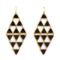 Enamel-Painted Triangle Chandelier Earrings