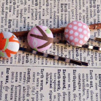 Fabric Button Bobby Pin, Button Bobby Pin Trio, Birthday Gift, Party Favor, Little Girl Party, Illustration, Whimsical