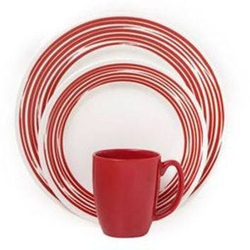 Corelle Boutique Brushed 16-Pc Dinnerware Set, Red