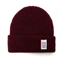 Topo Designs Marled Watch Cap in Red/Navy