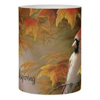 Cardinal LED Candle/Happy Thanksgiving Flameless Candle