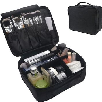 ONETOW Portable Makeup Train Case, FLYMEI Waterproof Cosmetic Organizer Kit Make Up Artist Storage for Cosmetics, Makeup Brush Set, Jewelry, Toiletry And Travel Accessories (Black)