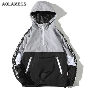 Aolamegs Jackets Men Patchwork Side Letter Hooded Jacket Tracksuit High Street Coats Hip Hop Male Streetwear Couple Windproof
