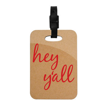 "KESS Original ""Hey Y'all - Red"" Brown Red Decorative Luggage Tag"