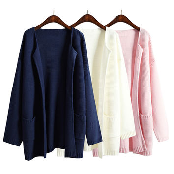 2016 Autumn And Winter Women Sweater Jacket Solid Color No Button Female Loose Long Sweaters Navy Blue Pink Knitted Cardigan