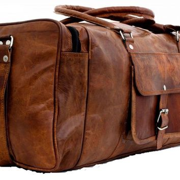 """20"""" Leather Overnight Bag Weekend Duffle Travel Cabin Holdall Gym Sports Lugg..."""