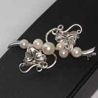 Cultured Pearl Brooch Silver Grape Leaves and Vines Vintage Pearl Pin Wedding Jewelry