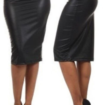 New 2014 Women Girls Ladies Spring Summer Fashion Solid Faux Leather PU Pencil Skirt Gothic Punk Skirts Black Clubwear = 5698396993