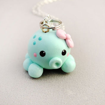 Cute Girly Pink Bow Blue Octopus Charm Necklace