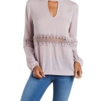 Cloud Gray Cut-Out Crochet-Trim Long Sleeve Top by Charlotte Russe