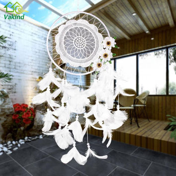 White Lace Flower Dreamcatcher Wind Chimes Indian Style Feather Pendant Dream Catcher Creative Car Hanging Decoration