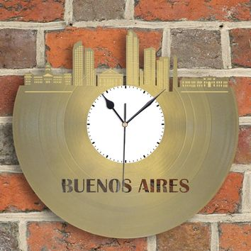 Argentina Buenos Aires Skyline Clock, Modern Wall Art Clock, Personalized Gift Idea, Vinyl Decor, Record Clock, Repurposed, Recycled Clock