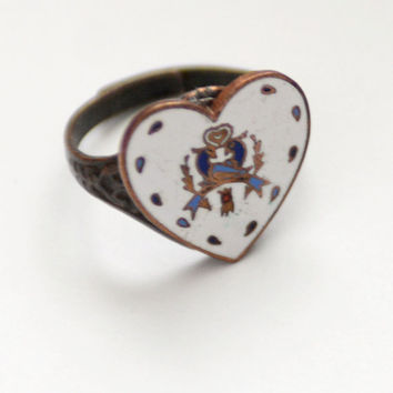 Pennsylvania Dutch Distlefink Heart Hex Sign Ring, 1950 vintage Enamel Heart, Hoffman Jewelry, German Folk Ring, Amish style, Mid Century