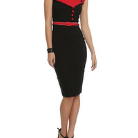 Hell Bunny Veronica Black And Red Pencil Dress
