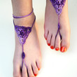 Splash of purple barefoot sandals - Foot Jewelry - Crochet Anklet  - Hippie jewelry - Bridesmaid accessory - boho chic - Beach Wedding
