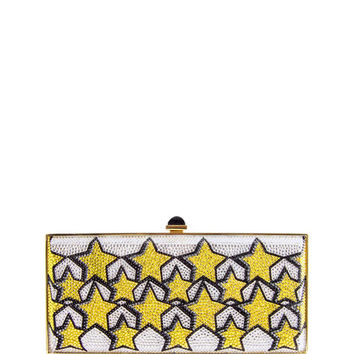 Judith Leiber Couture Stars Large Coffered Crystal Clutch Bag