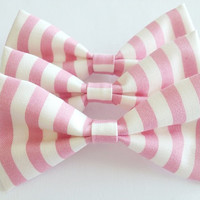 Light Pink Striped Bow
