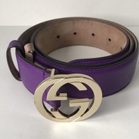 GUCCI interlocking classic GG purple LEATHER BELT 90/36 marmont