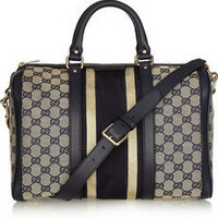 Gucci | Leather-trimmed canvas bowling bag | NET-A-PORTER.COM