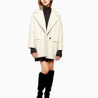 Notched Collar Single Breasted Long Sleeve Coat In Ivory