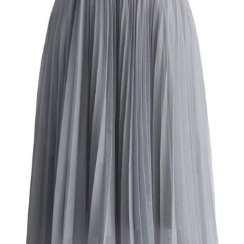 Dreamy Grey Mesh Pleats Tulle Skirt