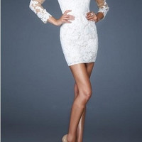 Long Sleeve White Lace short Cocktail Party Dress Slim Formal Evening Prom Gown