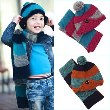 Winter Hats Caps For Baby Children Scarf Hat Set Knitted kids Baby Hat Cute Cartoon Crochet Knitted Cap Baby Hat Scarf Set