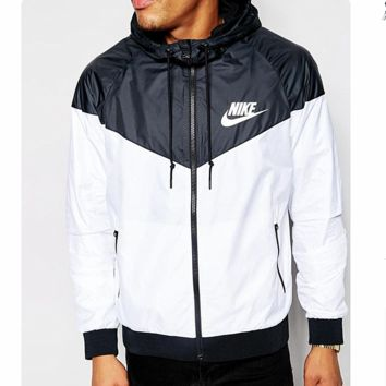 Fashion NIKE Hooded Zipper Cardigan Sweatshirt Jacket Coat Windbreaker Sportswear Contrast (6-color) Black white