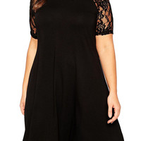 Black Short Sleeve Lace Paneled Midi Dress