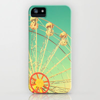 All the happy days - Carnival, ferris wheel , turquoise green, vintage retro, fall autumn, blue sky iPhone Case by Andrea Caroline