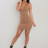 Ribbed Henley Mini Dress - Camel