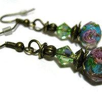 Blue Green and Pink Flower Earrings Antiqued Gold Drop Dangle Retro Style Womens Gift Spring Floral Jewelry Made with Swarovski Crystals