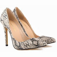 Fashion  Snake Print Shallow Mouth Pointed Toe Shoes Women Heels Shoes