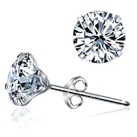 925 Sterling Silver Imitated Diamond Wedding & Engagement Cubic Zirconia Stud earrings For Women Platinum Plated