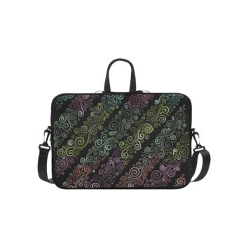 Personalized Laptop Shoulder Bag Psychedelic Pastel Rainbow Handbags 14 Inch