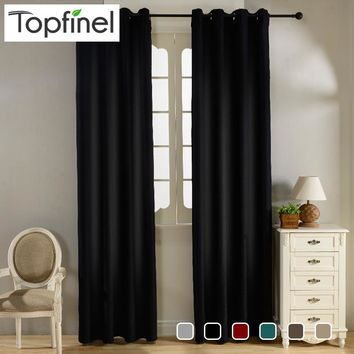 Topfinel Modern Solid Velvet Blackout Curtains for Living Room Bedroom Luxury Black Out Curtains Thick Thermal Night Curtain