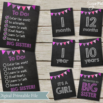 image regarding Printable Baby Month Signs identify Excellent Little one Woman Announcement Playing cards Products and solutions upon Wanelo