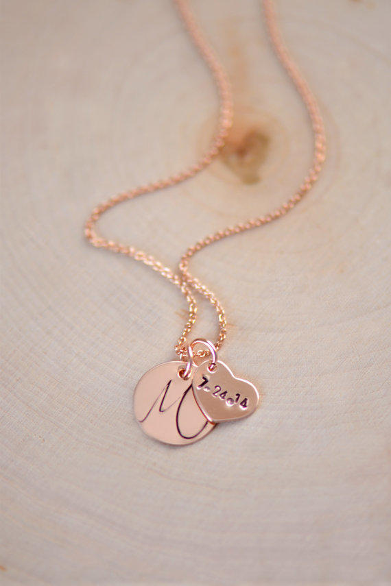 Personalized rose gold initial necklace from for Rose gold personalized jewelry