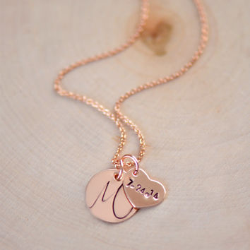 Personalized Rose Gold Initial Necklace ,  Date Necklace , New Mom Necklace ,  initial heart and disc , Couple's Necklace Wedding Date
