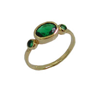 Green Emerald Hydro - Gold Rings - 14k Yellow Gold Plated Over Brass - Gemstone Oval Stone Birthstone Rings - Bezel Rings - Bridesmaid Gift